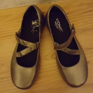 Shoes - Vionic Cross Strap Metallic Mary Jane Loafers